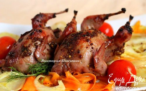 Рецепт Запеченные перепела с фенхелем и морковью