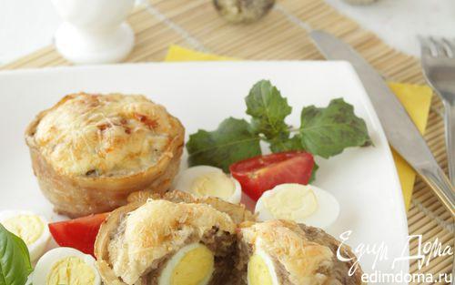 Рецепт Мясные кексы с перепелиными яйцами