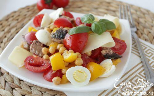 Рецепт Салат с тунцом, нутом и перепелиными яйцами