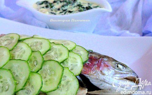 Рецепт Запеченная форель с соусом из шпината