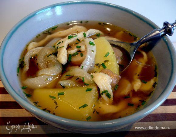 Швабский суп с домашними шпецле (Gaisburger Marsch)