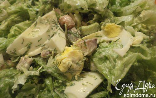 Рецепт Салат из авокадо, копченой рыбки и бекона