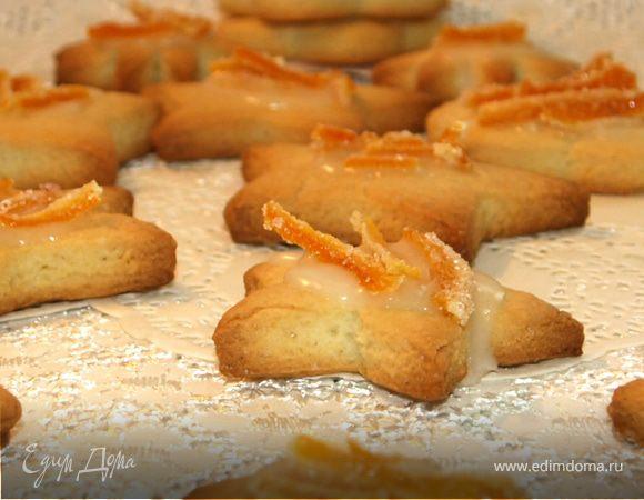 Печенье с апельсиновой глазурью и цукатами