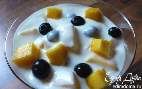 Рецепт Ванильный йогурт с манго и черникой