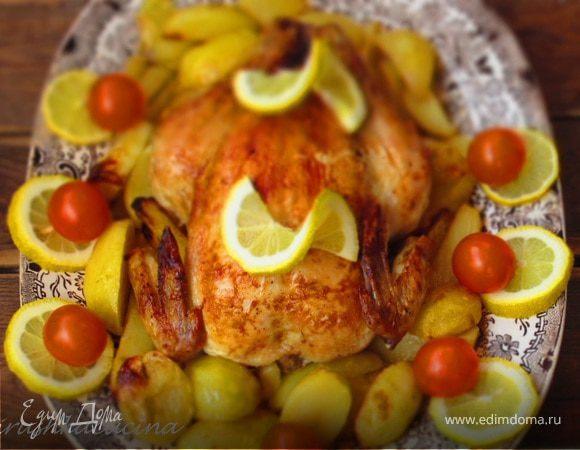 Курица, фаршированная лимонами