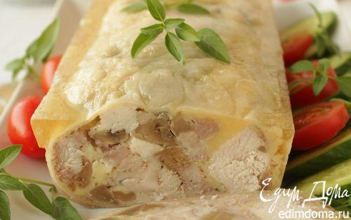 Рецепт Куриный рулет с грибами и сыром