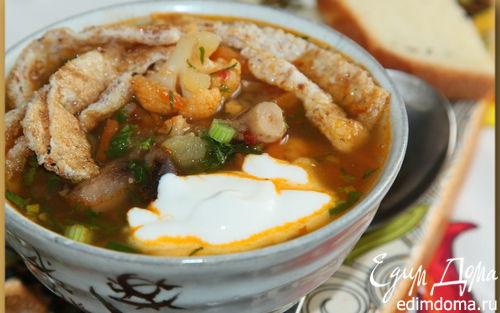 Рецепт Овощной суп с белково-кунжутным омлетом