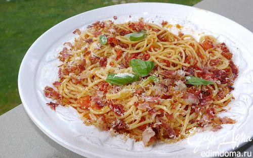Рецепт Спагетти с помидорами и беконом