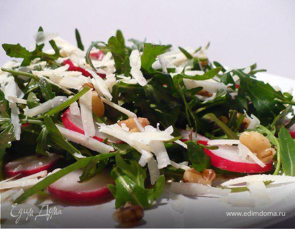 Летний салат из руколы и редиски