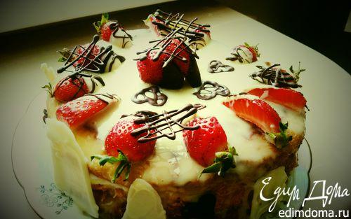 Рецепт Клубничный торт с белым шоколадом