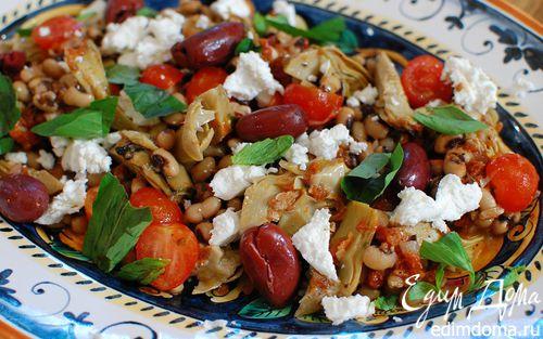 Рецепт Средиземноморский салат с фасолью и артишоками