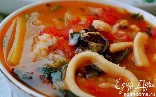 Рецепт Томатный суп с морепродуктами и рисом