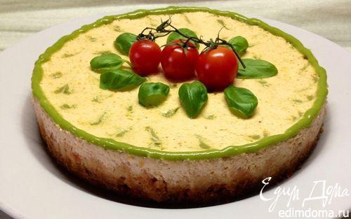 Рецепт Закусочный творожно-томатный чизкейк с базиликовым курдом