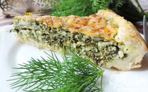 """Рецепт Открытый пирог с творогом и зеленью """"Витаминный"""""""