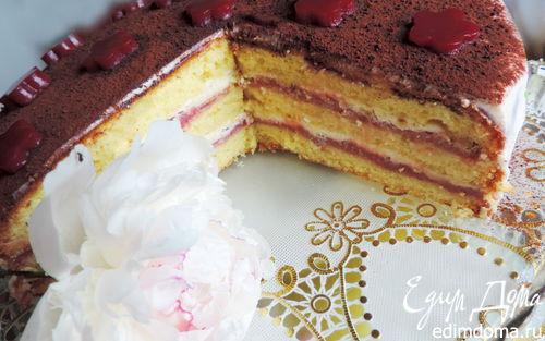 """Рецепт Бисквитный торт со сметанным кремом и малиновым курдом """"Восторг"""""""