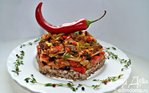 Рецепт Мильфей с мясом, гречкой и овощами
