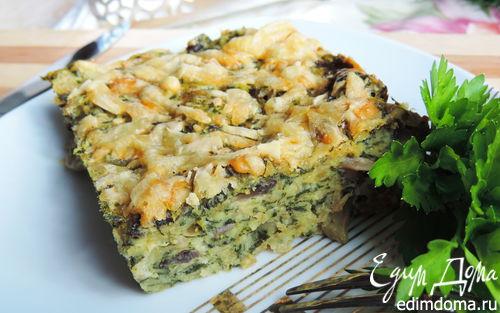 Рецепт Быстрая запеканка со шпинатом, мясом и грибами