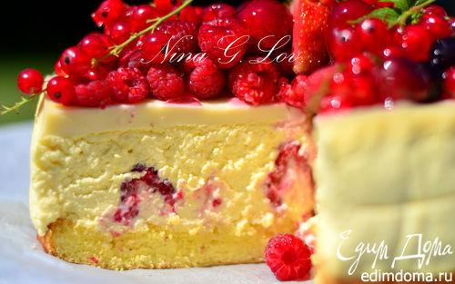 Рецепт Творожный торт-мусс с ягодами в белом шоколаде