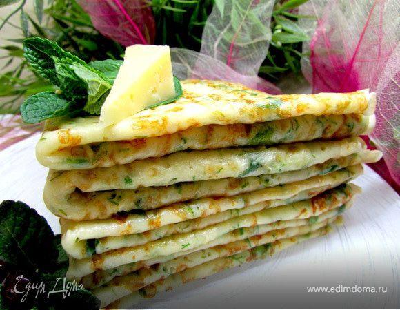 Блины сырные с зеленью рецепт