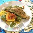 Филе трески с картошкой, шпинатом и зелеными оливками