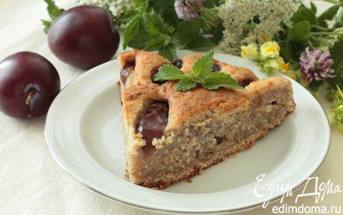 Рецепт Творожно-ореховый пирог со сливами