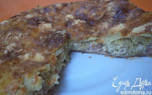 Рецепт Пирог из слоеного теста с капустной начинкой