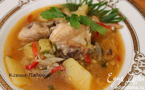 Рецепт Густой куриный суп с луком