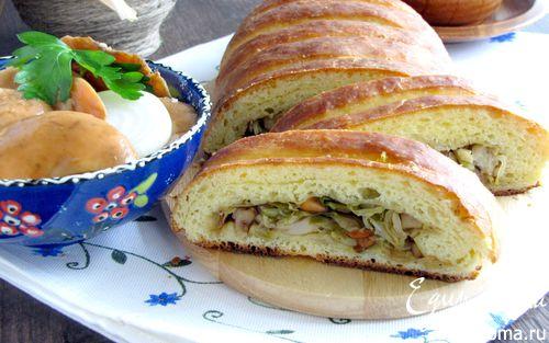 Рецепт Кулебяка с капустой и солеными грибами