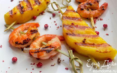 Рецепт Шашлычки из креветок и манго от Марты Стюарт