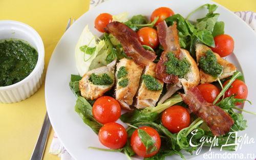 Рецепт Салат с куриной грудкой и заправкой из ароматных трав
