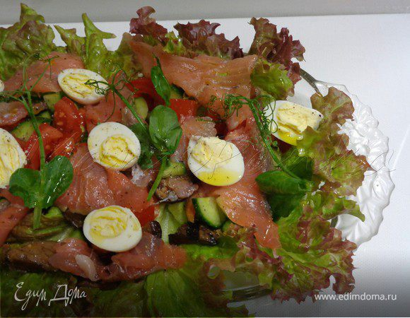 Норвежский овощной салат с копченым лососем