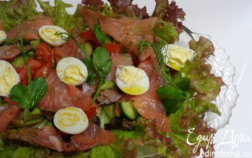 Рецепт Норвежский овощной салат с копченым лососем