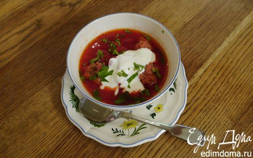 Рецепт Свекольный суп с фрикадельками