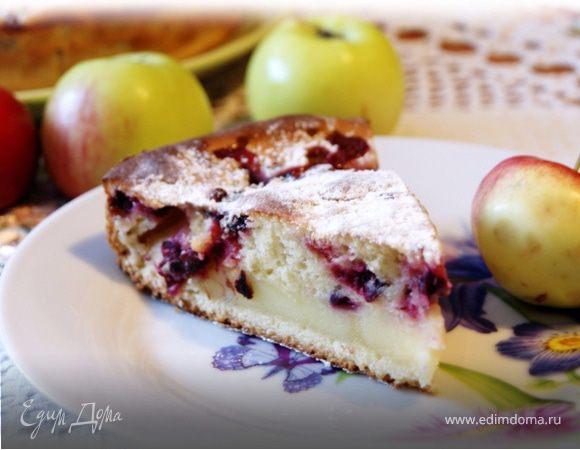 Яблочно-клюквенный пирог со сметанной заливкой