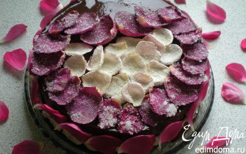 Рецепт Торт ''Десертная Роза'' с засахаренными цветами