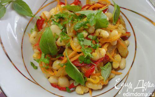 Рецепт Теплый салат из белой фасоли