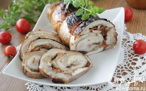 Рецепт Куриный рулет с черносливом и грецким орехом