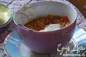 Супчик из чечевицы с пореем и помидорами