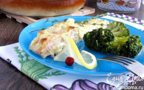 Рецепт Филе лосося под сырно-горчичным соусом