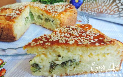 Рецепт Творожный пирог с брокколи и сырной начинкой