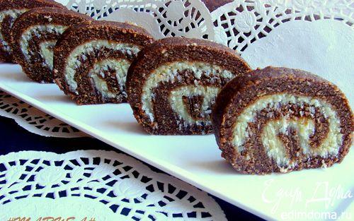 Рецепт Шоколадно-кокосовый рулет без выпечки