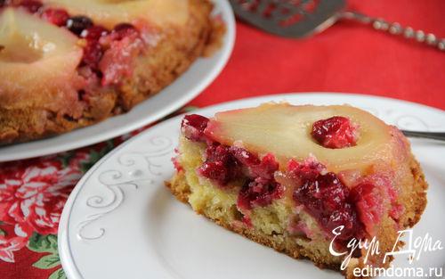 Рецепт Пирог-перевертыш с грушей, клюквой и имбирем