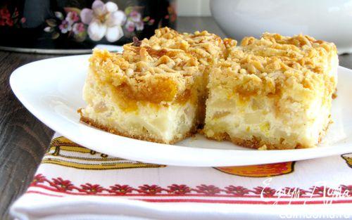 Рецепт Тертый пирог с творогом и грушами