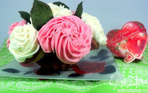 Рецепт Капкейки «Букет роз»