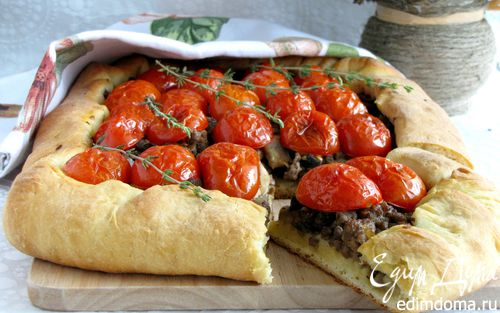Рецепт Открытый пирог с бараниной, грибами и помидорами