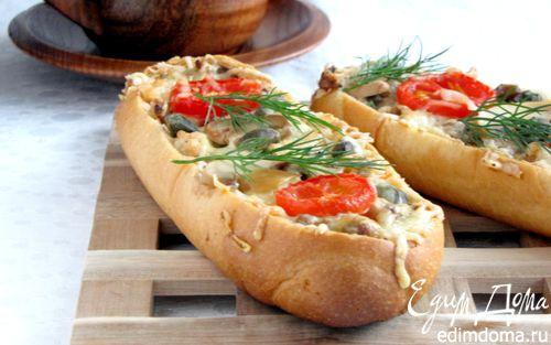 Рецепт Мини-багеты, фаршированные курицей и грибами