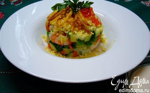 Рецепт Оливье с креветками и картофелем пай