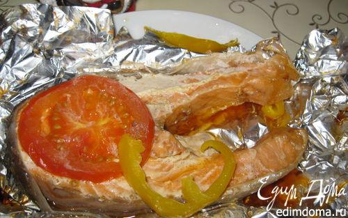 Рецепт Семга с помидорами и перцем, запеченная в фольге