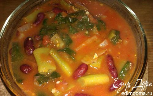 Рецепт Фасоль со шпинатом в томатном соусе