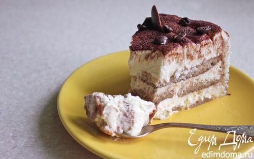 """Рецепт Торт """"Тирамису"""" с двухцветный бисквитом-бортиком (без сырых яиц!)"""